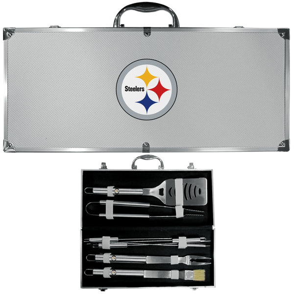 Pittsburgh Steelers 8 pc Stainless Steel BBQ Set w/Metal Case