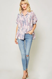 Ornately Patterned Woven Top