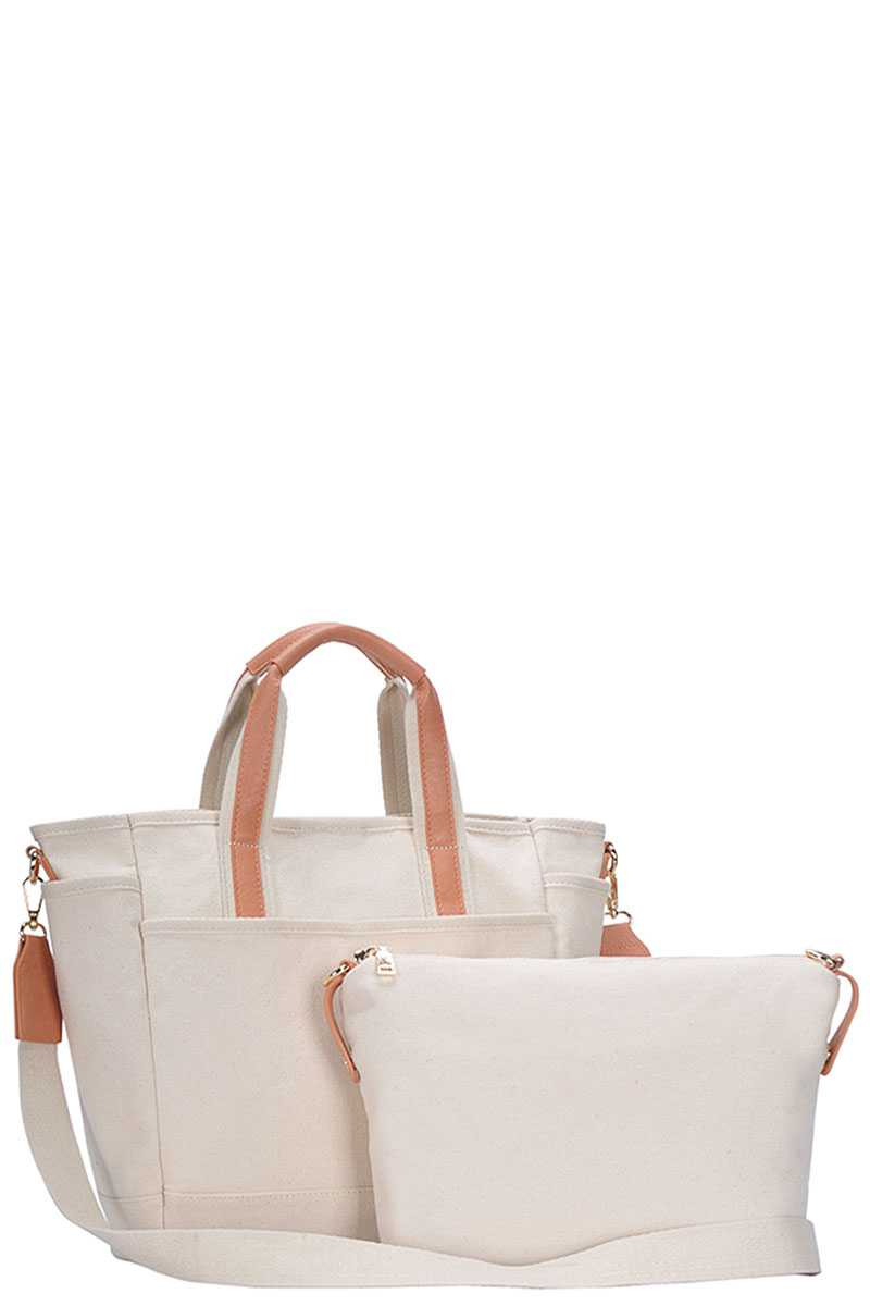 2in1 Designer Canvas Fabric Satchel With Long Strap