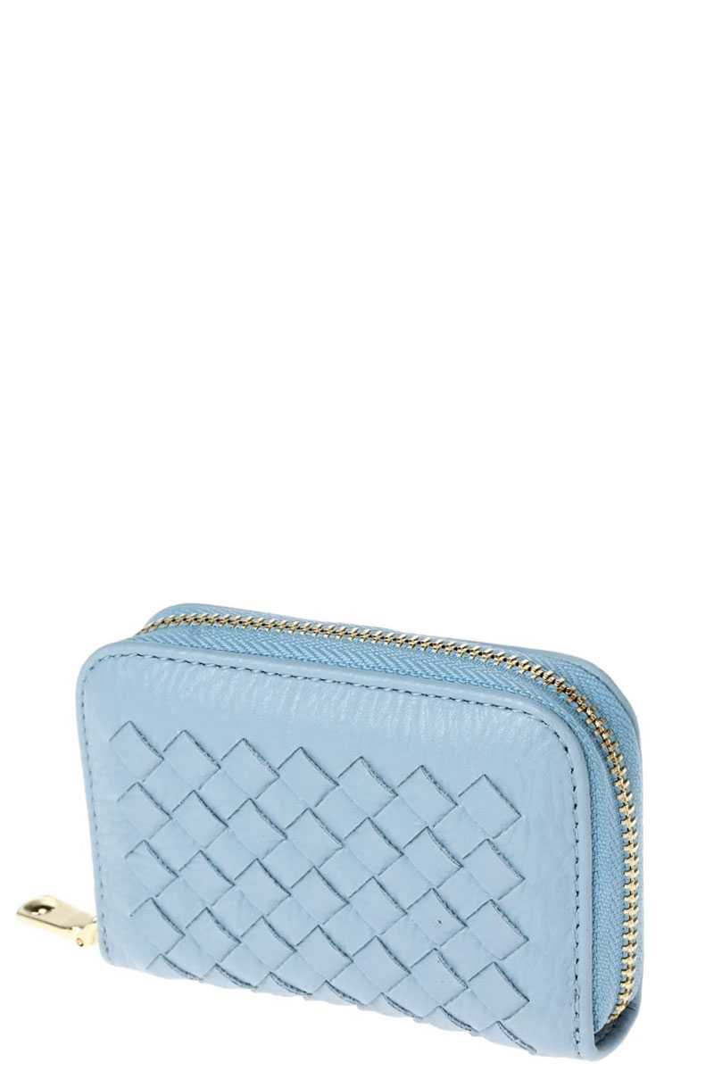Stylish Zip Around Multi Slots Braided Card Case
