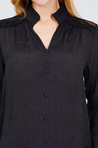 V-neck Button Down Woven Top