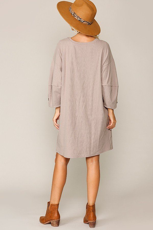 Textured Button Accent Puff Sleeve Side Pockets Shift Dress