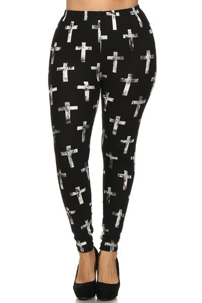 Plus Size Cross Print, High Waist, Lined Leggings