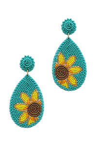 Trendy Seed Bead Tear Drop Flower Earring