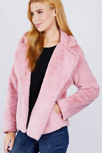 Notched Collar Open Front Jacket