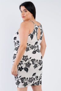 Plus Size Ivory Black Floral Basic Dress