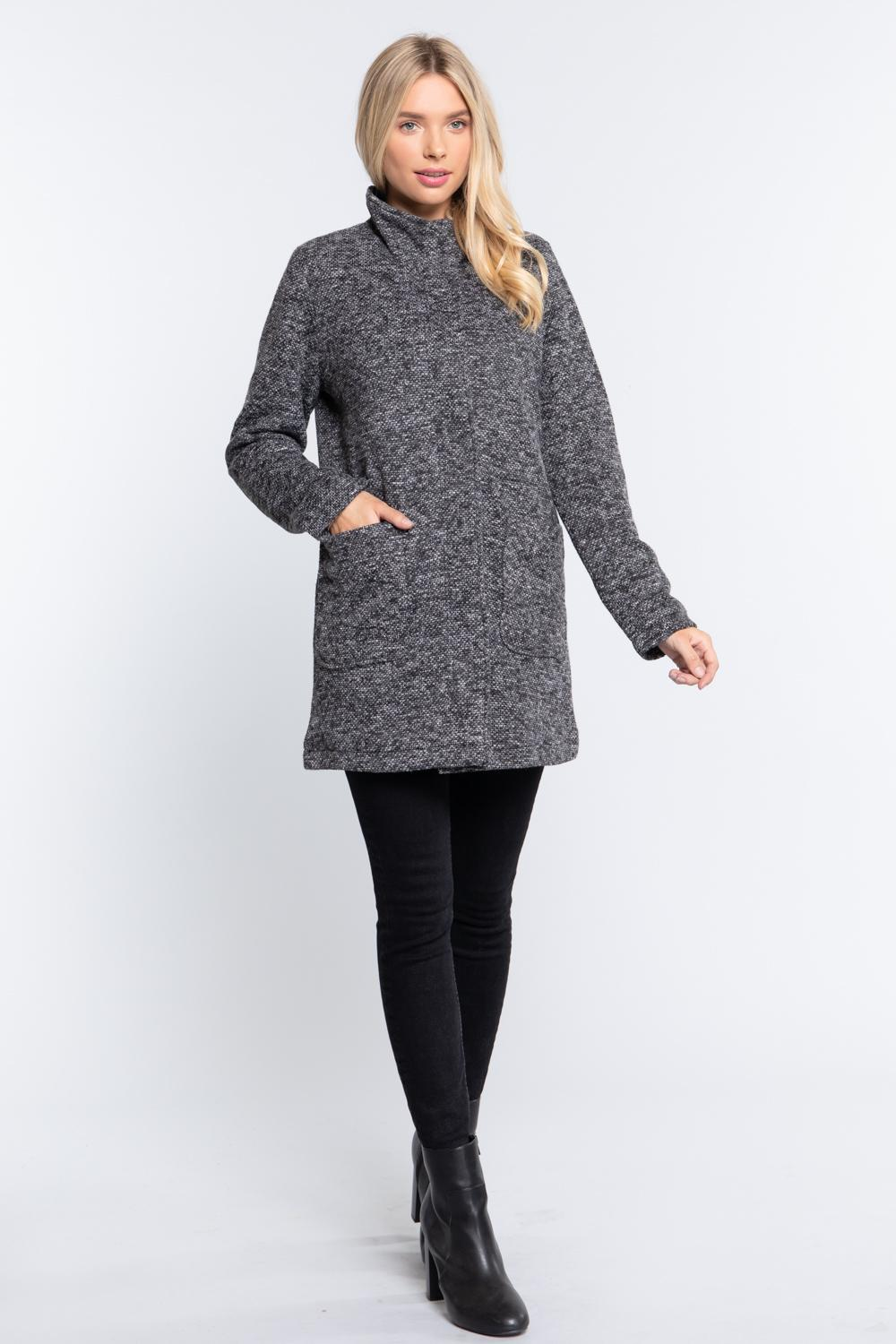 High Mock Neck Knit Coat