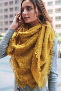 Mohair Open Work Square Blanket Scarf