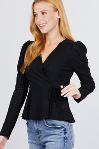 Surplice W/ribbon Tie Peplum Top