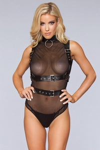 Attached Faux-leather Harness With Pin Buckle Fastenings