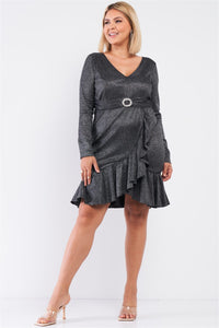 Plus Long Sleeve V-neck Asymmetrical Wrap Flare Hem Belt Detail Oval Rhinestone Buckle Mini Dress