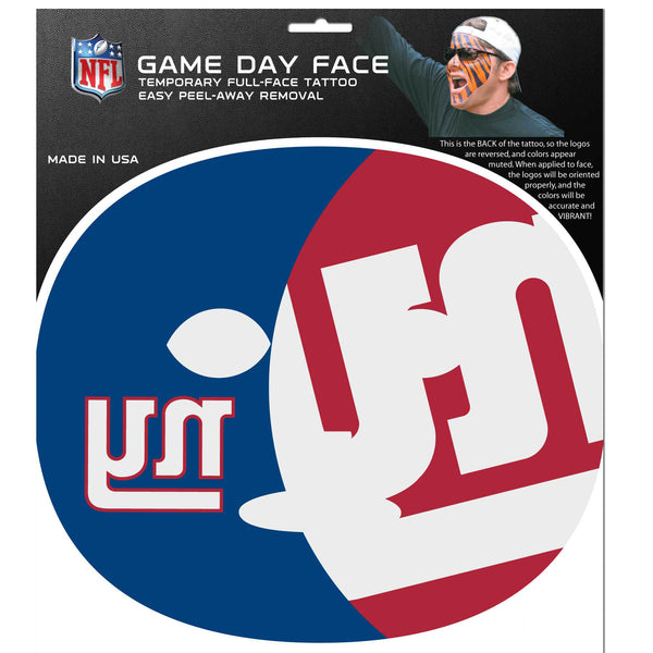 New York Giants Game Face Temporary Tattoo