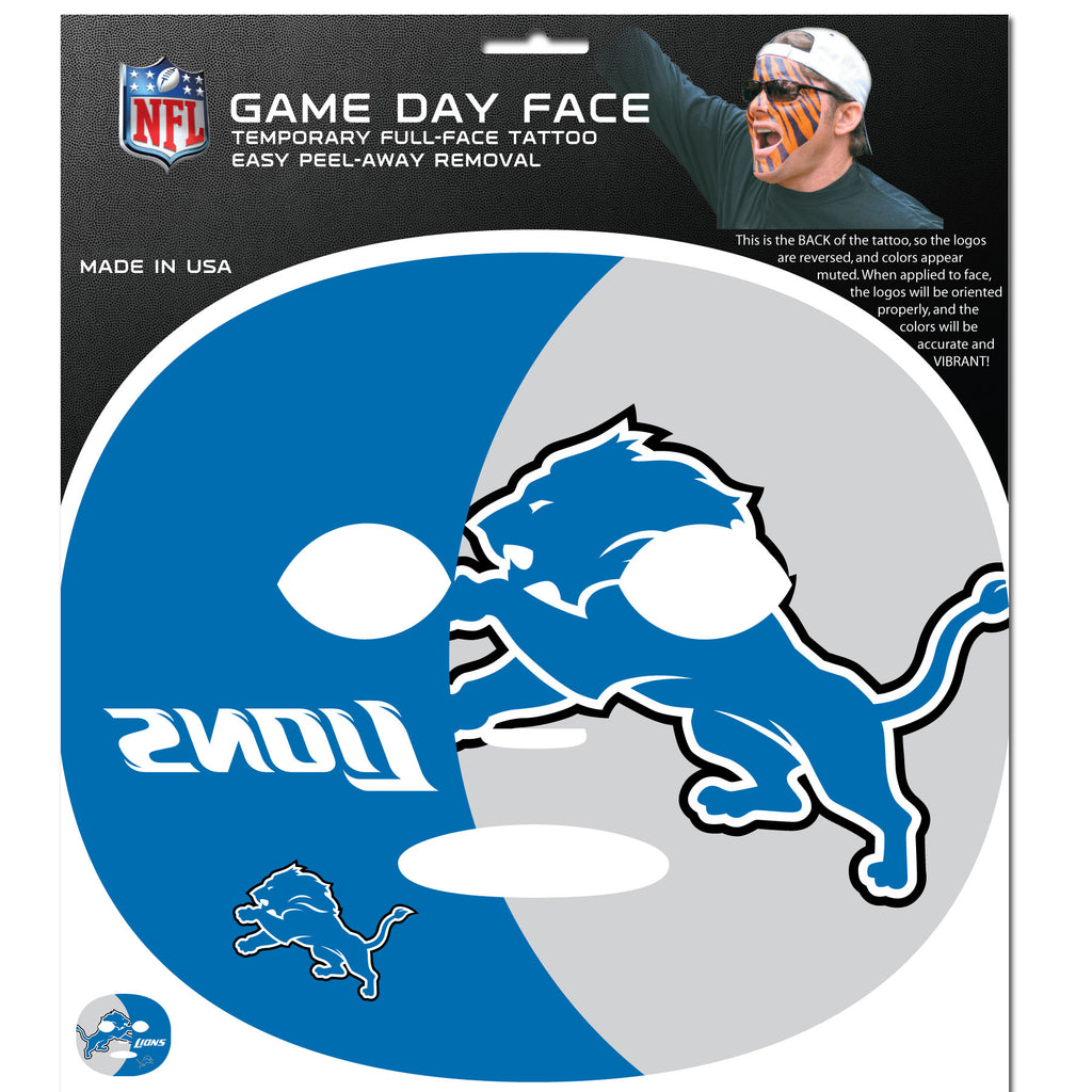 Detroit Lions Game Face Temporary Tattoo - X MAX SPORTS