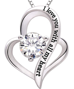 I Love You With All My Heart Swarovski Elements Necklace in 18K White Gold Plating