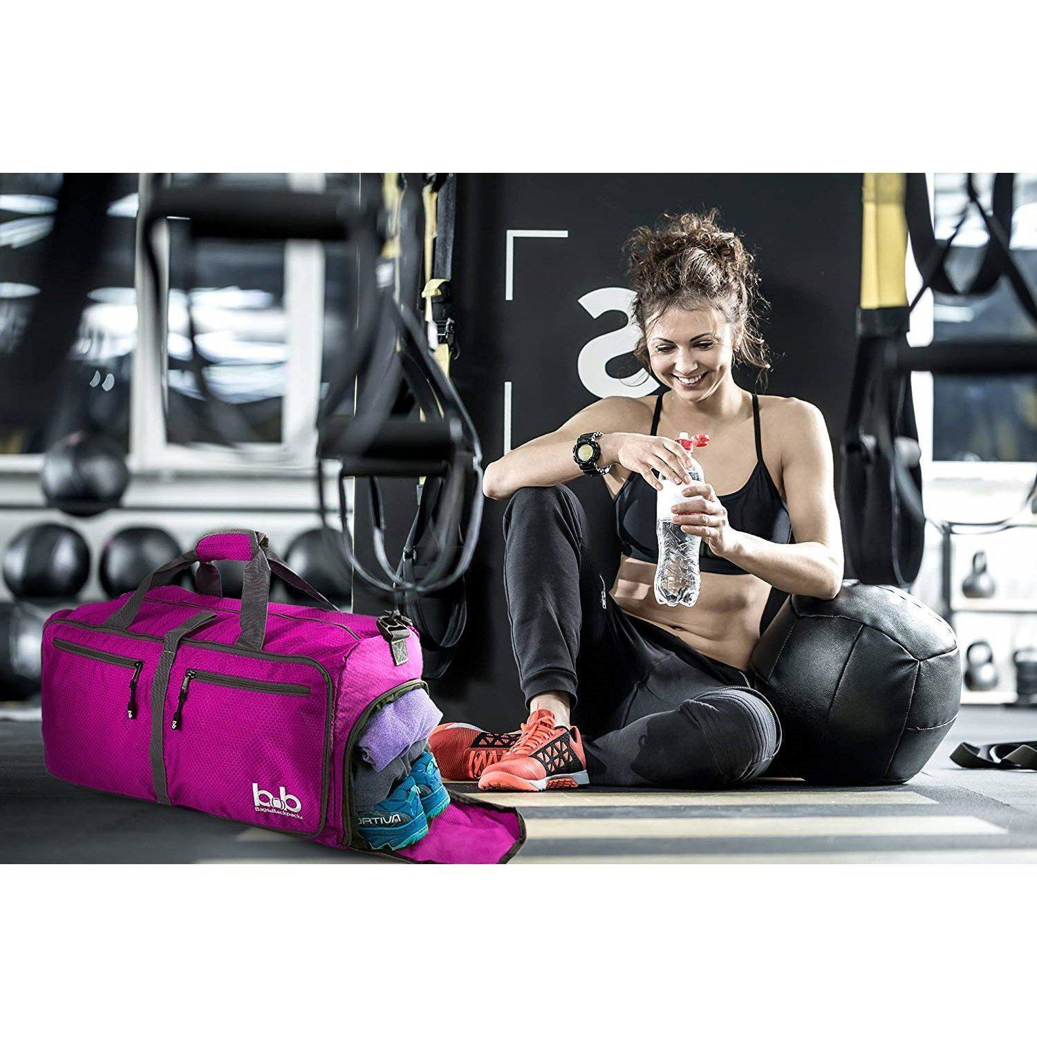 B&B 60L Medium Gym Duffle Bag With Pockets - Foldable Lightweight Travel Bag