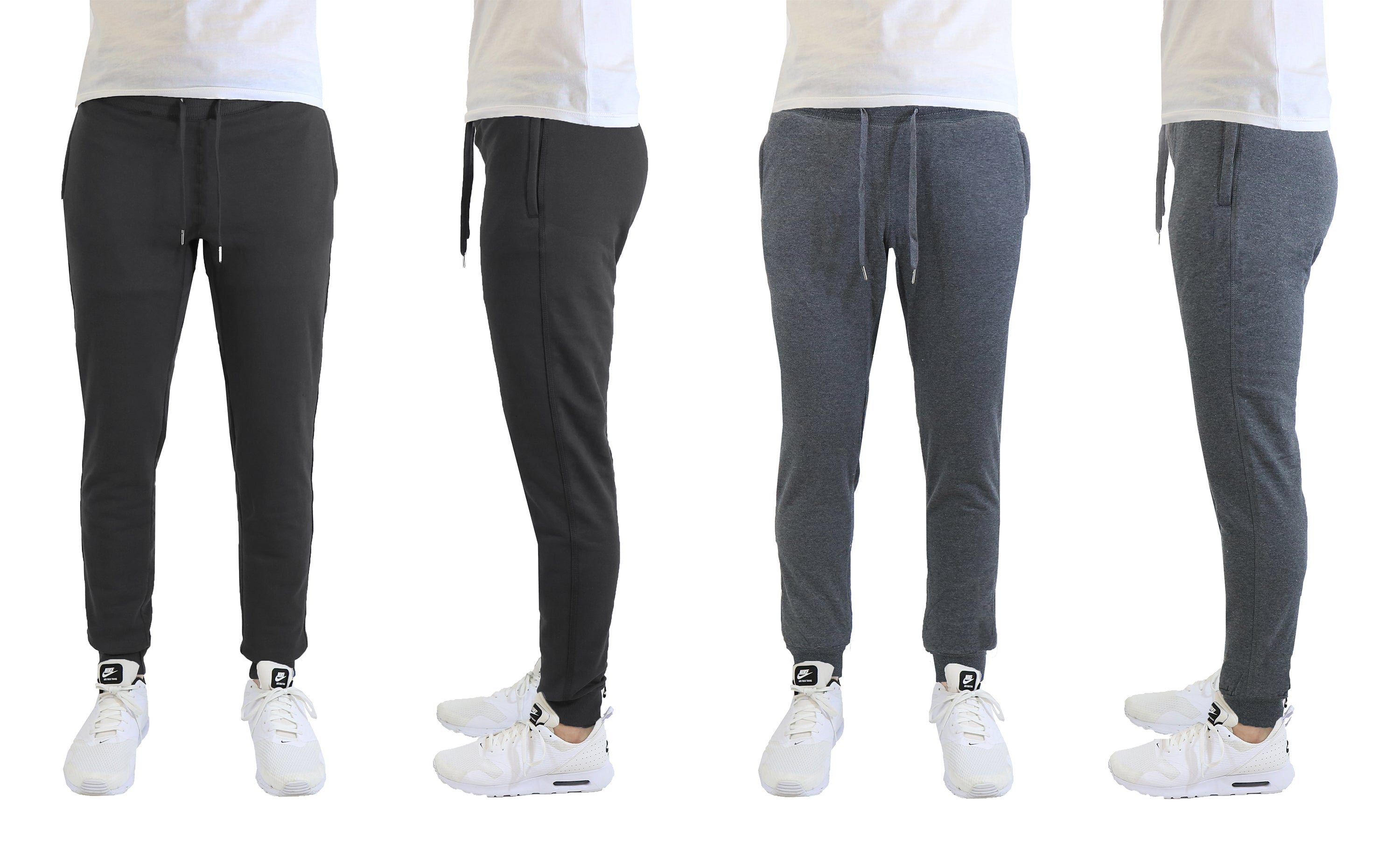 [2-Pack] Mens Soft Touch Slim Fit Joggers with Zipper Pockets