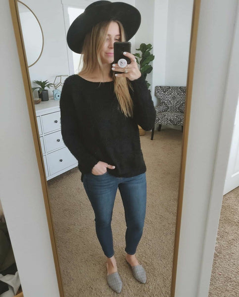 Black Fuzzy Striped Sweater