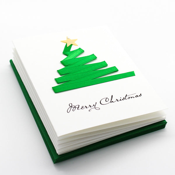 Green Abstract Tree Boxed Cards