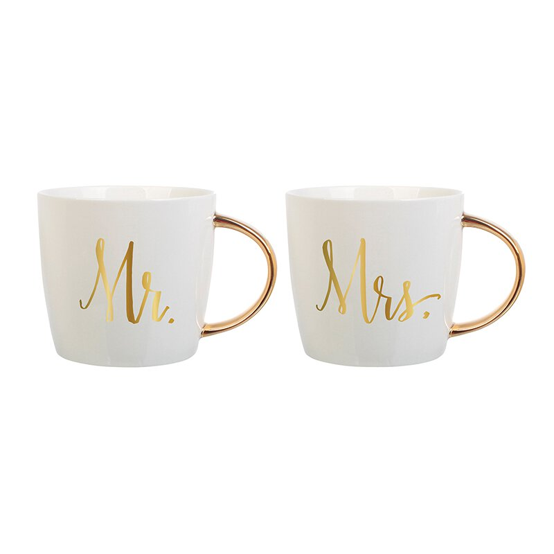 Slant Wedding Mugs Mr. & Mrs.