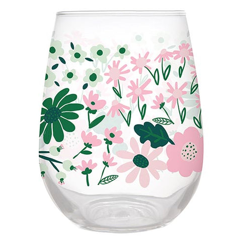 Stemless Wine Glass - Floral Pattern