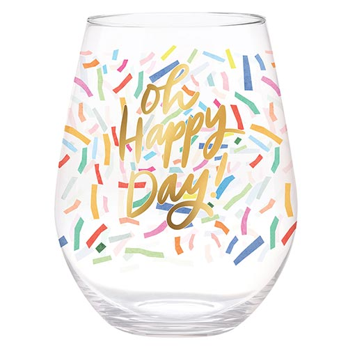 Slant Stemless Wine Glass - Oh Happy Day