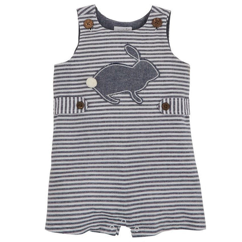 Boys Bunny Chambray Stripe Shortall by Mud Pie