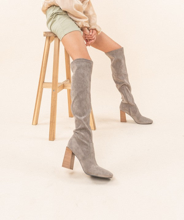 Control The Scene Knee High Boots - Grey