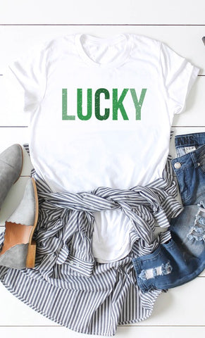 Lucky Distressed Green Letters Top