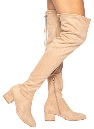 Love Me Again Over The Knee Boots - Warm Taupe
