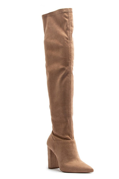 On A Mission Over the Knee Boots - Warm Taupe