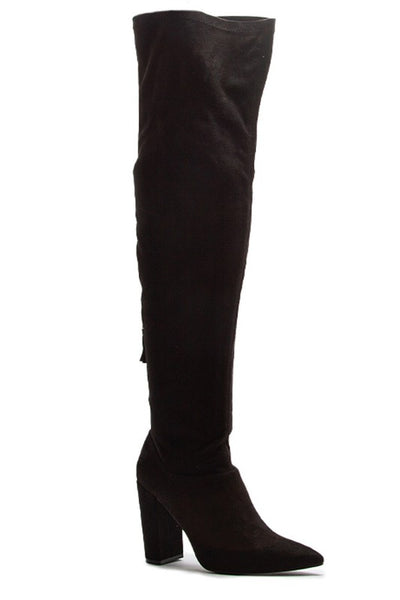 On A Mission Over The Knee Boots - Black