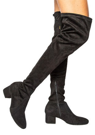 Love Me Again Over The Knee Boots - Black