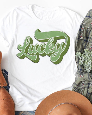 Distressed Bold Lucky Graphic Tee