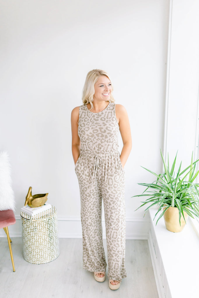 Miss You More Leopard Jumpsuit - Taupe