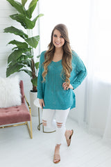 Come With Me Spring Sweater - Turquoise