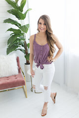 Call me Basic Button Up Tie Tank - Violet