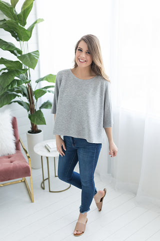 Molly Boxy Sweater Top - Grey