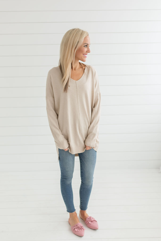 Mary Pullover Sweater - Oatmeal