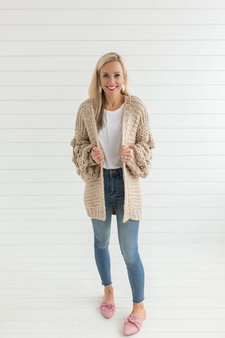 Ginny Bubble Sleeve Sweater - Mocha