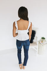 Lucky Me Cinched Waist Tank - White
