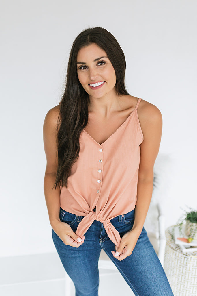 Genevieve Button Down Top - Clay