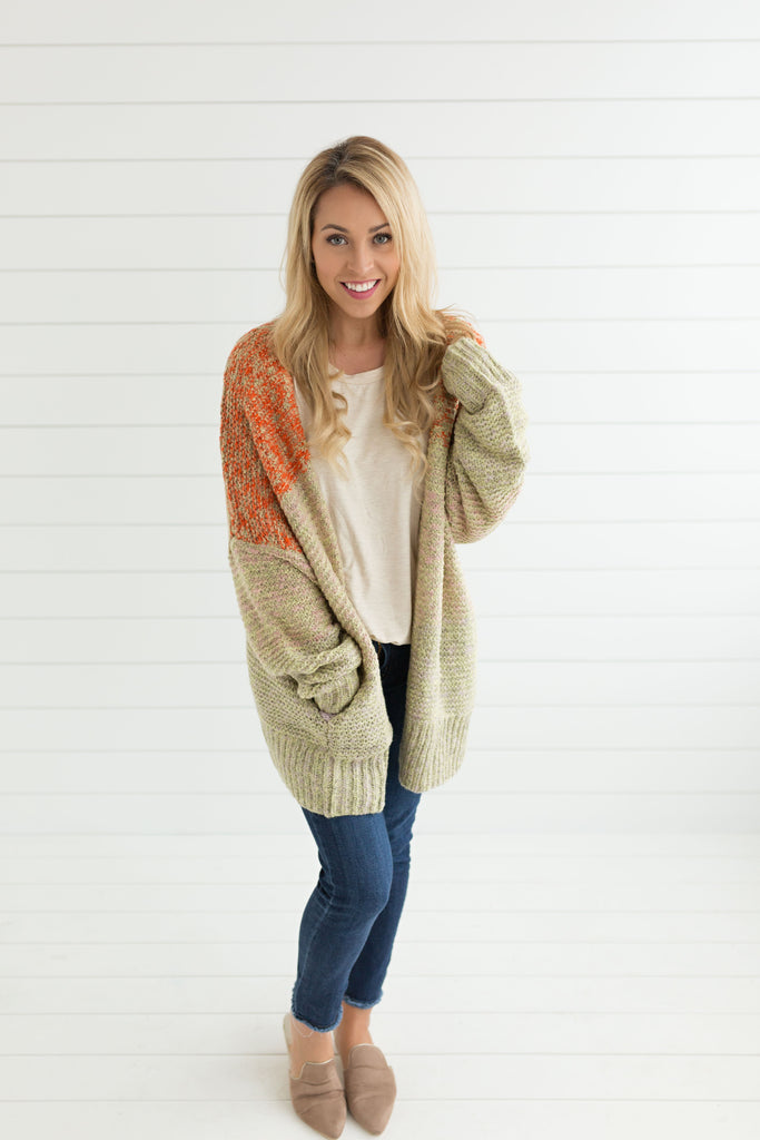 Jillian Open Cardigan - Spicy Rust