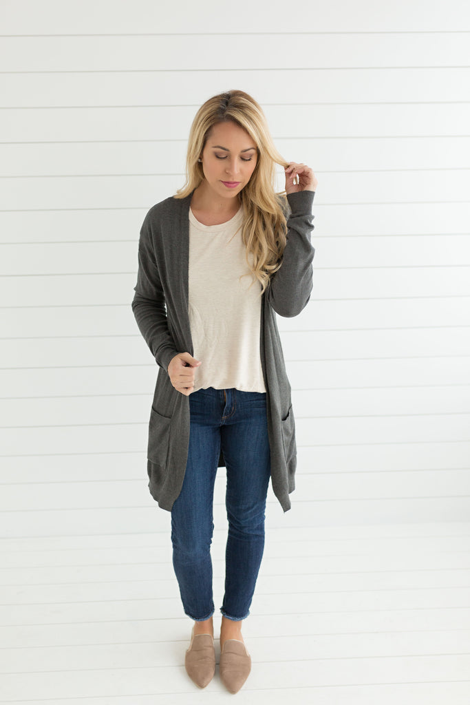 Wearing It Everyday Cardigan - Charcoal