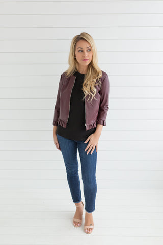 Emily Faux Leather Ruffle Jacket - Burgundy