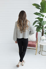 Tori Striped Cowl Neck Sweater