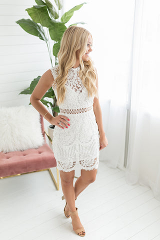 Monica Midi Lace Dress - White