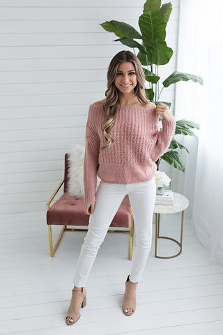 Camilla Scoop Neck Sweater - Blush