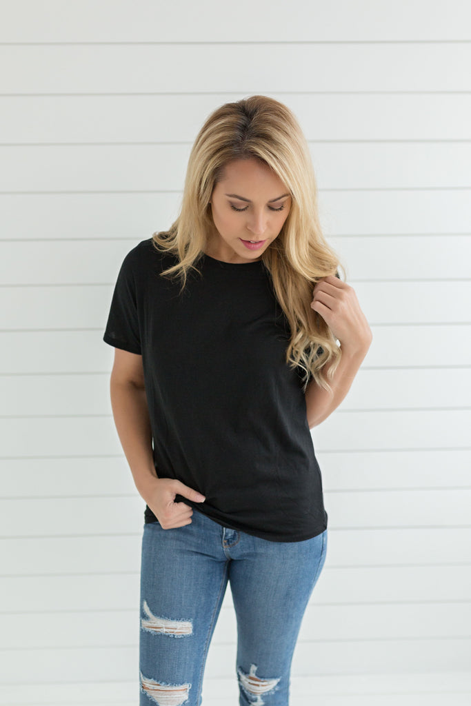 Jill Short Sleeve Crew Neck Top - Black