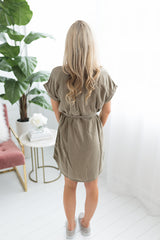 Juliana Button Down Dress - Olive