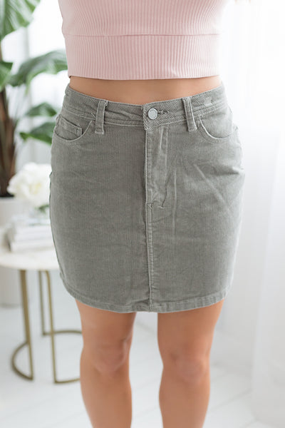Abby High Waist Skirt - Sage